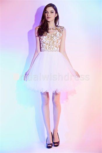 White/Gold Beading Swweetheart Short/Mini Cocktail/Homecoming Dresses #beauty #beautifulworld #dress #dresses #organza #ballgown #whitedress #fashion