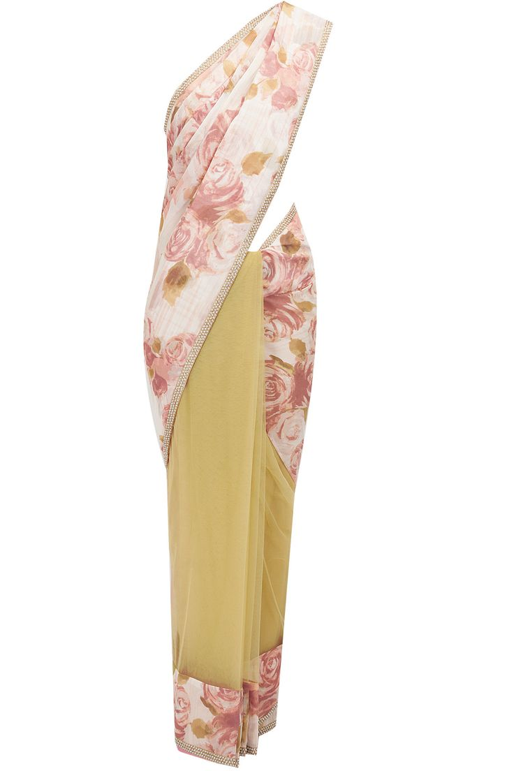 Jardin blush and olive sari available only at Pernia's Pop-Up Shop.