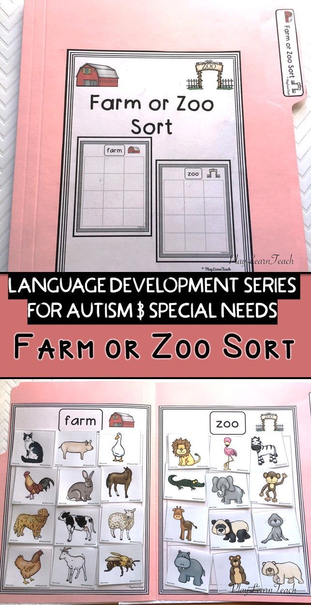 Students sort animal pictures into two categories (farm and zoo). Perfect for students on the Autism Spectrum, in Early Childhood, Early Intervention, ESL, Occupational Therapy, Special Education or Speech Therapy classes; compliments ABA and TEACCH strategies.