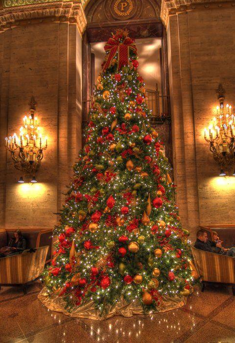Palmer House, Chicago, Il Christmas Tree si lejos en un luagr del mundo pero cercano a las tradiciones, bello, bello