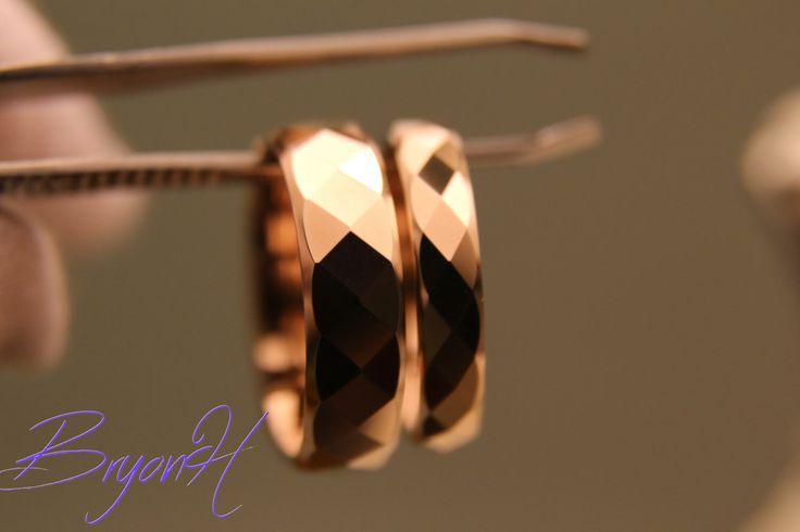 Tungsten Carbon Ring for Men and Women, Rose Gold engagement ring set, Rose gold Wedding bands set, Rose gold Tungsten promise ring set by BryonHshop on Etsy https://www.etsy.com/uk/listing/269650865/tungsten-carbon-ring-for-men-and-women