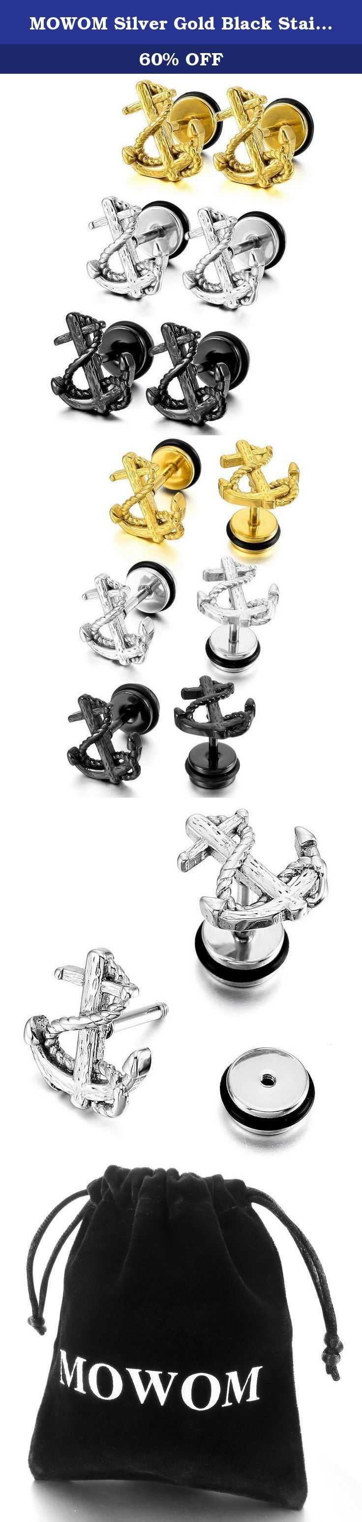 MOWOM Silver Gold Black Stainless Steel Stud Earring Anchor ( 3 Pairs ). Silver Gold Black Stainless Steel Stud Earring Anchor ( 3 Pairs ).