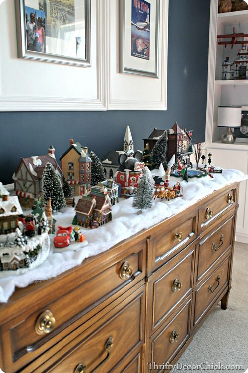 Christmas village in a child's room. Great idea!!