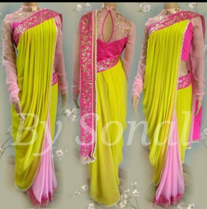 Our drapes are always fancy prestitched saree n blouse pure fabric Range of our any of saree designs starts from 3999/-Inbox for prices of this saree or whatsapp at +919669166963 22 November 2016