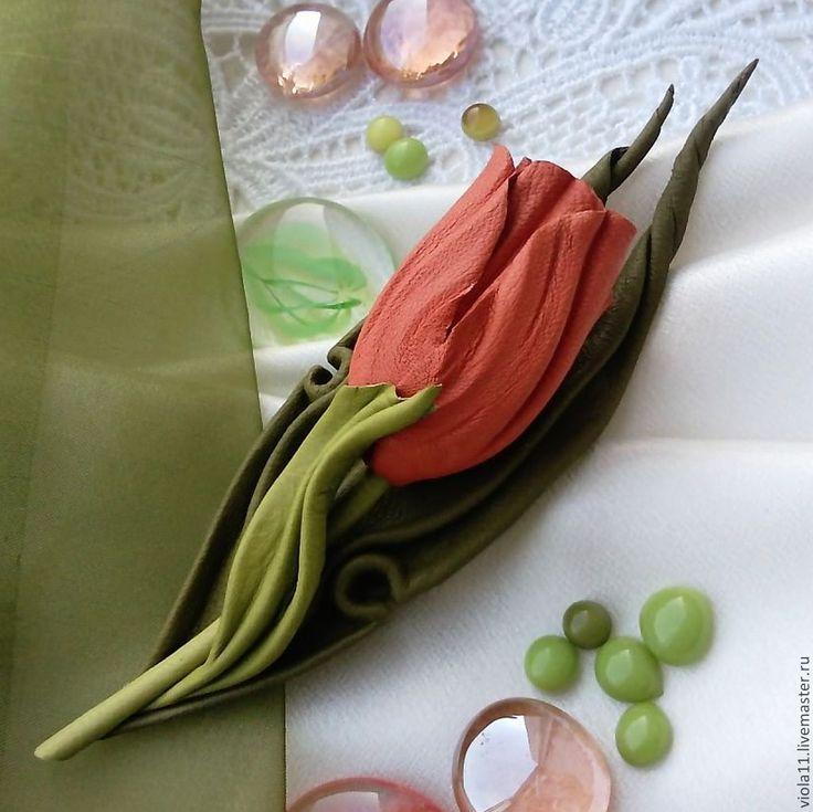 """Купить """"Тюльпан апельсиновый"""" Брошь цветок кожа натуральная - рыжий, оранжевый цветок, оранжевый тюльпан"""