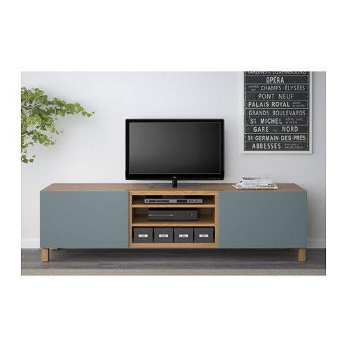 BESTÅ TV bench with drawers - oak effect/Valviken grey-turquoise, drawer runner, soft-closing - IKEA