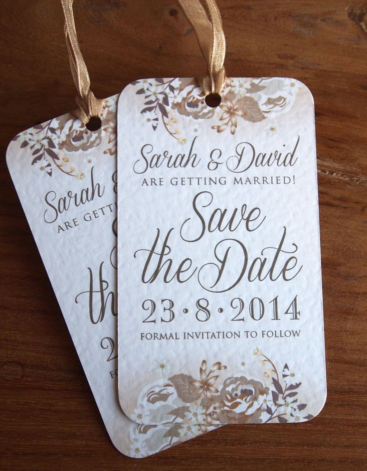 Save the Date Cards - Floral luggage label style in gold and bronze colour scheme.