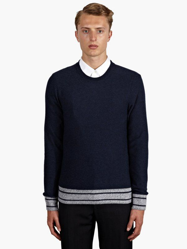 Maison Martin Margiela 10 Men's Navy Contrast Hem Wool Jumper | oki-ni