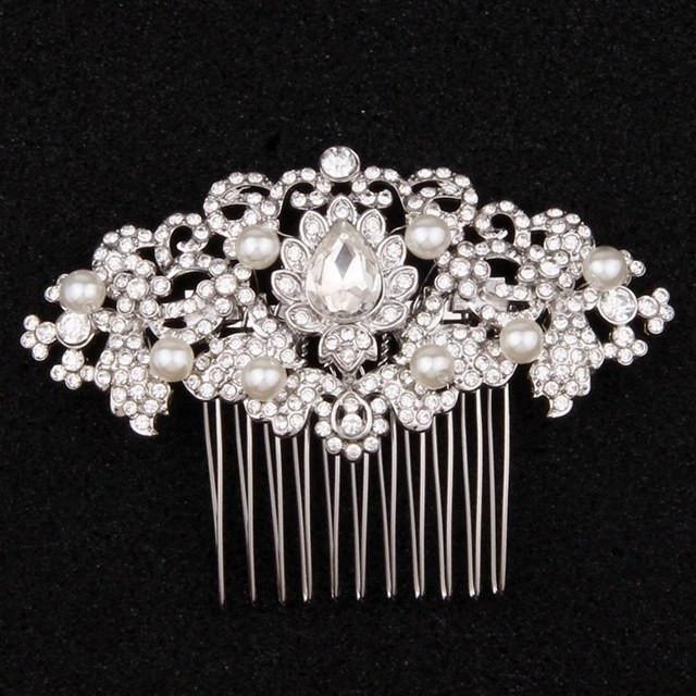 Wedding Hair Accessories Vintage Hair Comb Pearl Art Deco