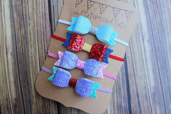 Mini princess glitter bow set headband or by muffintopsandtutus