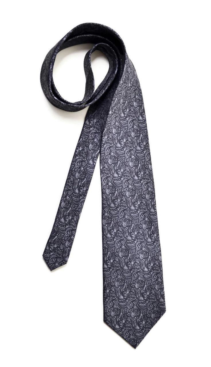 Silk Tie men's dark grey tie pattern neckties vintage Accessories for men men's clothing by SixVintageChicks on Etsy