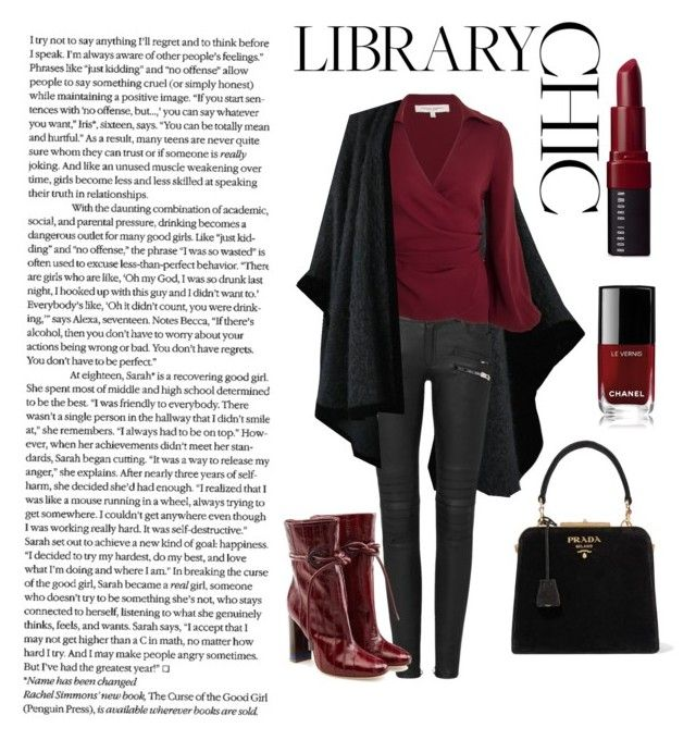 """Library Chic"" by daniiela-diiana on Polyvore featuring Mode, Yves Saint Laurent, Malone Souliers, Bobbi Brown Cosmetics, Chanel und Prada"