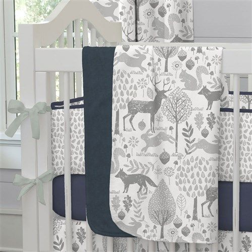 "Baby Blanket in Navy and Gray Woodland by Carousel Designs.  Our soft and lightweight crib blanket is just the thing to wrap your baby up, snug as a bug in a rug. At 34"" x 43"", it's the perfect size for the newest addition to the family."
