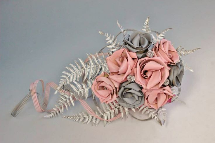 Pale pink, grey and silver waterfall bouquet.                               www.flaxation.co.nz