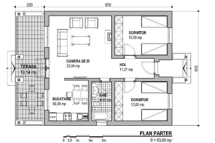 Acest proiect pentru casa parter are o suprafata construita la sol de aproximativ 83 de mp.  Calea de acces este una clasica. Casa dispune de un hol de aproximativ 11 mp. De la intrare, locuinta ne intampina cu cele doua dormitoare dispuse paralel, unul in stanga si celalalt in dreapta, ambele avand vedere catre …