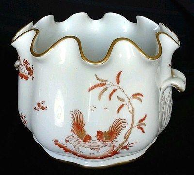 Ginori Porcelain Cashboo Savona Cashpot Planter Ice Bucket Siena Rust Rooster