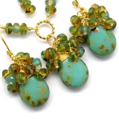 Turquoise Jewelry Set,Wire Wrapp Gold,Green Gold Jewelry