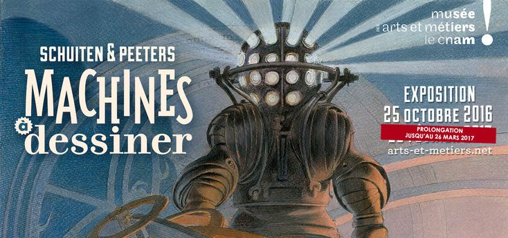 Machines à dessiner, une exposition exceptionnelle, fruit d'une collaboration avec François Schuiten et Benoît Peeters, auteurs des Cités obscures et de Revoir Paris. Pivot de l'exposition, le dessin s'y dévoile comme une activité à la fois technique et poétique, entre précision et imagination.