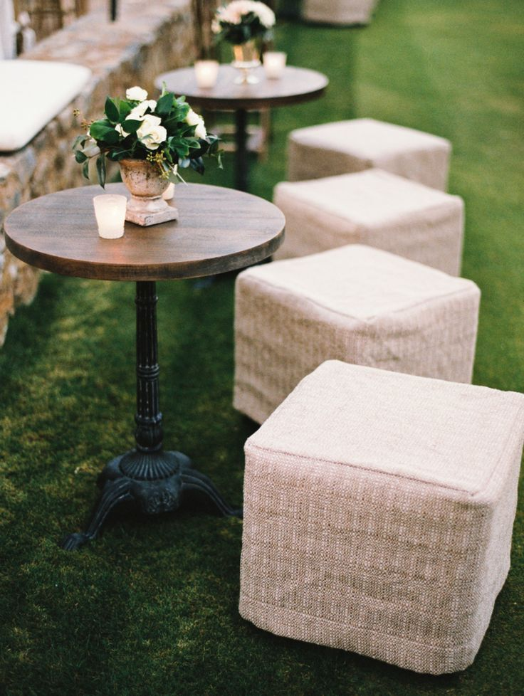 wedding cocktail hour furniture rentals stools http://itgirlweddings.com/fairy-tale-wedding/