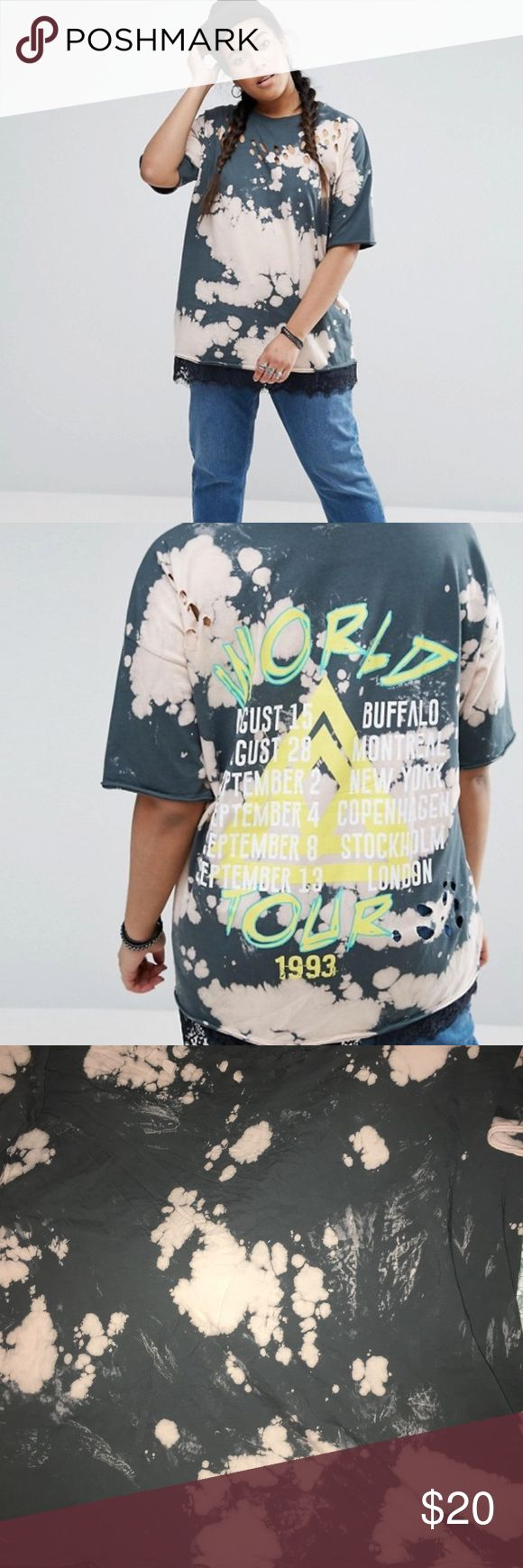 Asos Curve distressed tshirt... I have this worn once asos curve tshirt size 20.... ASOS Curve Tops Tees - Short Sleeve