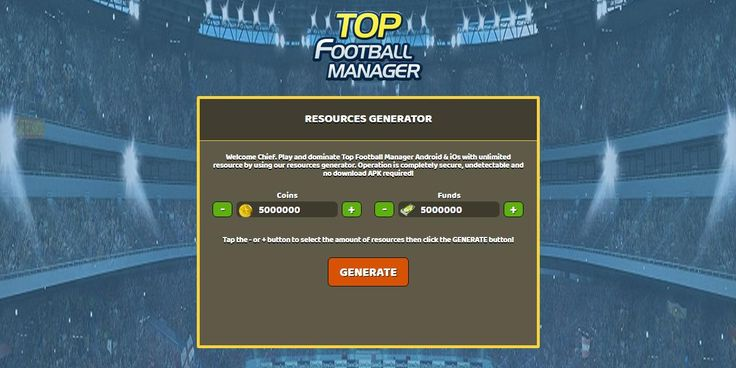 - Unlimited Coins - Unlimited Funds  Top Football Manager Hack Online:  http://resources-generator.online/top-football-manager.html
