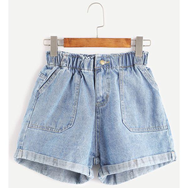 SheIn(sheinside) Elastic Waist Rolled Hem Denim Shorts ($16) ❤ liked on Polyvore featuring shorts, blue, high-waisted shorts, jean shorts, high waisted stretch shorts, blue shorts and blue jean shorts