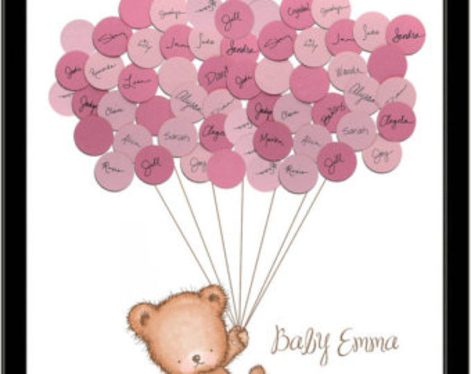 Baby Shower Ideas Teddy Bear Guestbook Print - Girl
