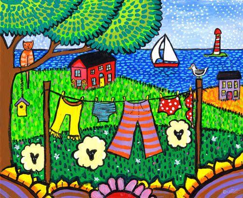 Servicio de lavandería Folkart paisaje Tabby Cat impresión