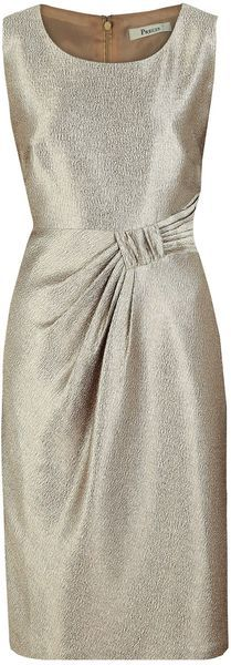 gorgeous textured gold fabric with a round neck this opulent occasion dress