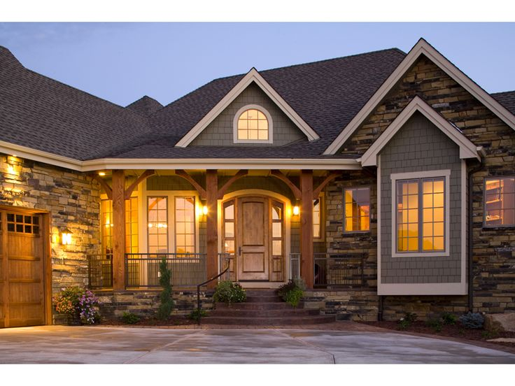 Parkholm Arts And Crafts Home Ranch House Plan Front of Home HOUSE PLAN #592-101S-0015 http://houseplansandmore.com/homeplans/houseplan101S-0015.aspx