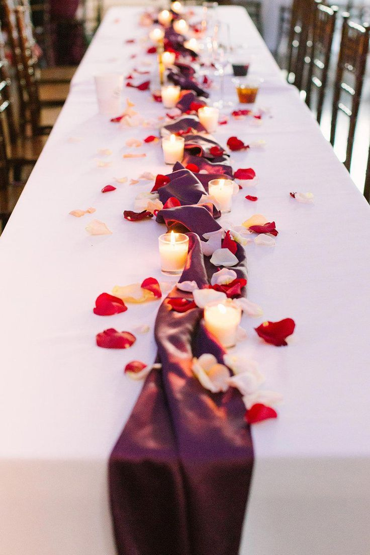Romantic Wedding Table Centerpiece For A Long Table Maroon