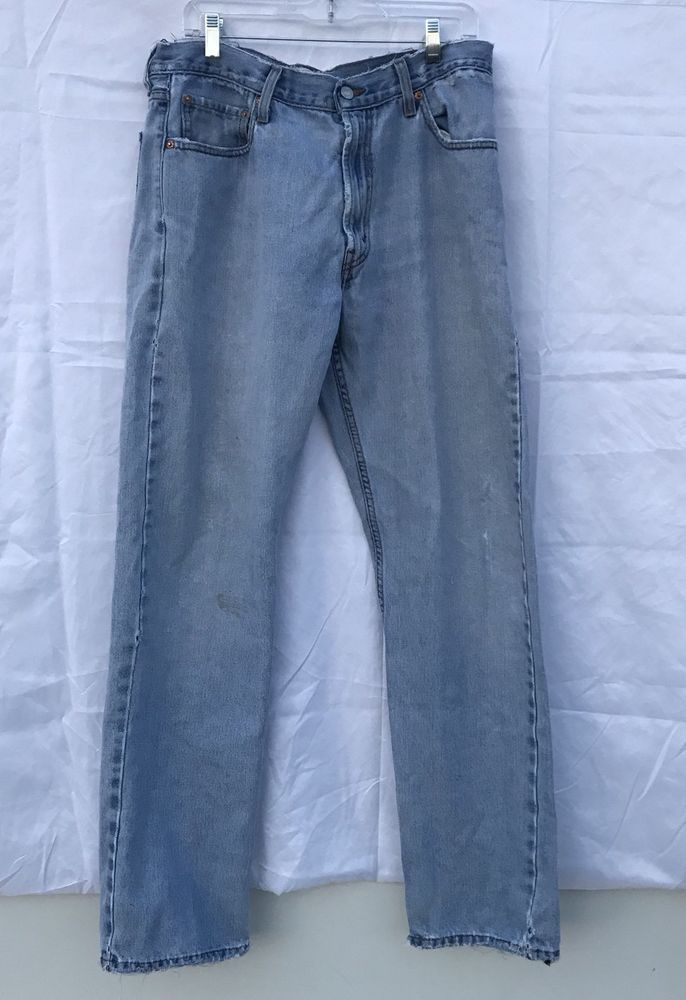 c505a817647fa Mens Levis 505 Jeans 36x34 Straight Leg Reg fit Distressed Inseam 33