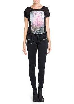 MANGO - KLEDING - Jeans - Zwarte superskinny jeans met ritsen