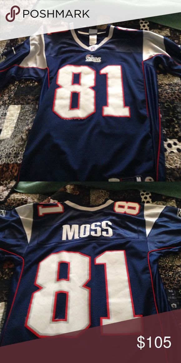 New England Patriots #81 Randy Moss Jersey Blue Jersey with Randy Moss's name on back with white and red outlined in numbers Reebok Other