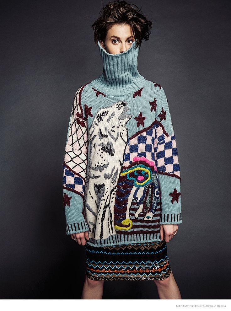"""wgsn: """" This shot for Madame Figaro Spain December issue takes Christmas jumper styling to another level! """""""