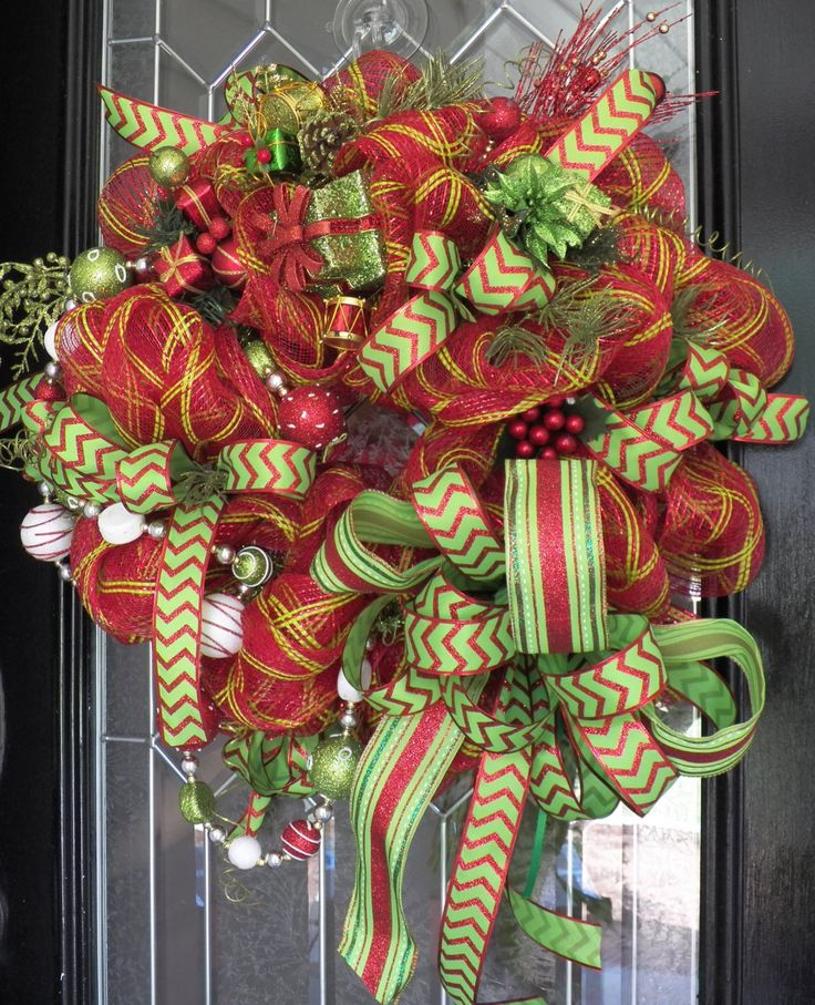 Whimsical Christmas Wreath, Christmas Decoration, Christmas Door Hanger, Holiday Wreath, Red and Apple Green, Ready to Ship by OccasionsBoutique on Etsy