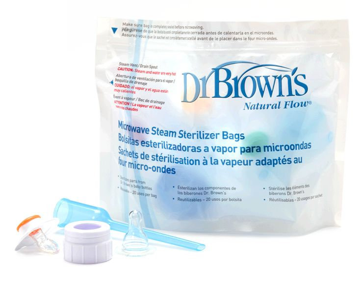 Sterilizes Parts From Dr Brown S Baby Bottles Quickly And 20 Uses Per Bag Safe For Hospital Use