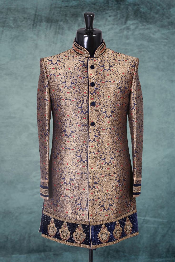 Ink blue & gold brocade amazing jodpuri sherwani with full sleeves -IW278