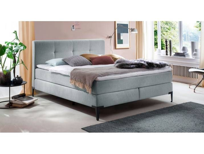 Innerspring Box Spring Bed Incl Topper 160x200 Cm Blue Fronika Betten De 160x200 Bed Bettende Blue Box In 2020 Box Spring Bed Bed Springs Lounge Room Styling