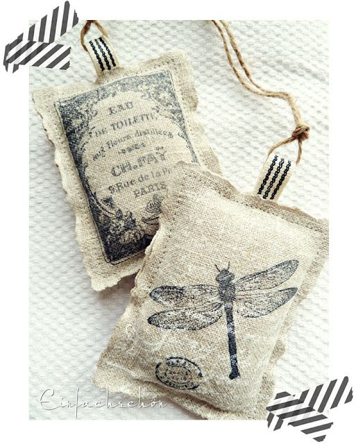 Stamping on linen, a lovely sachet idea or print on burlap with your home printer