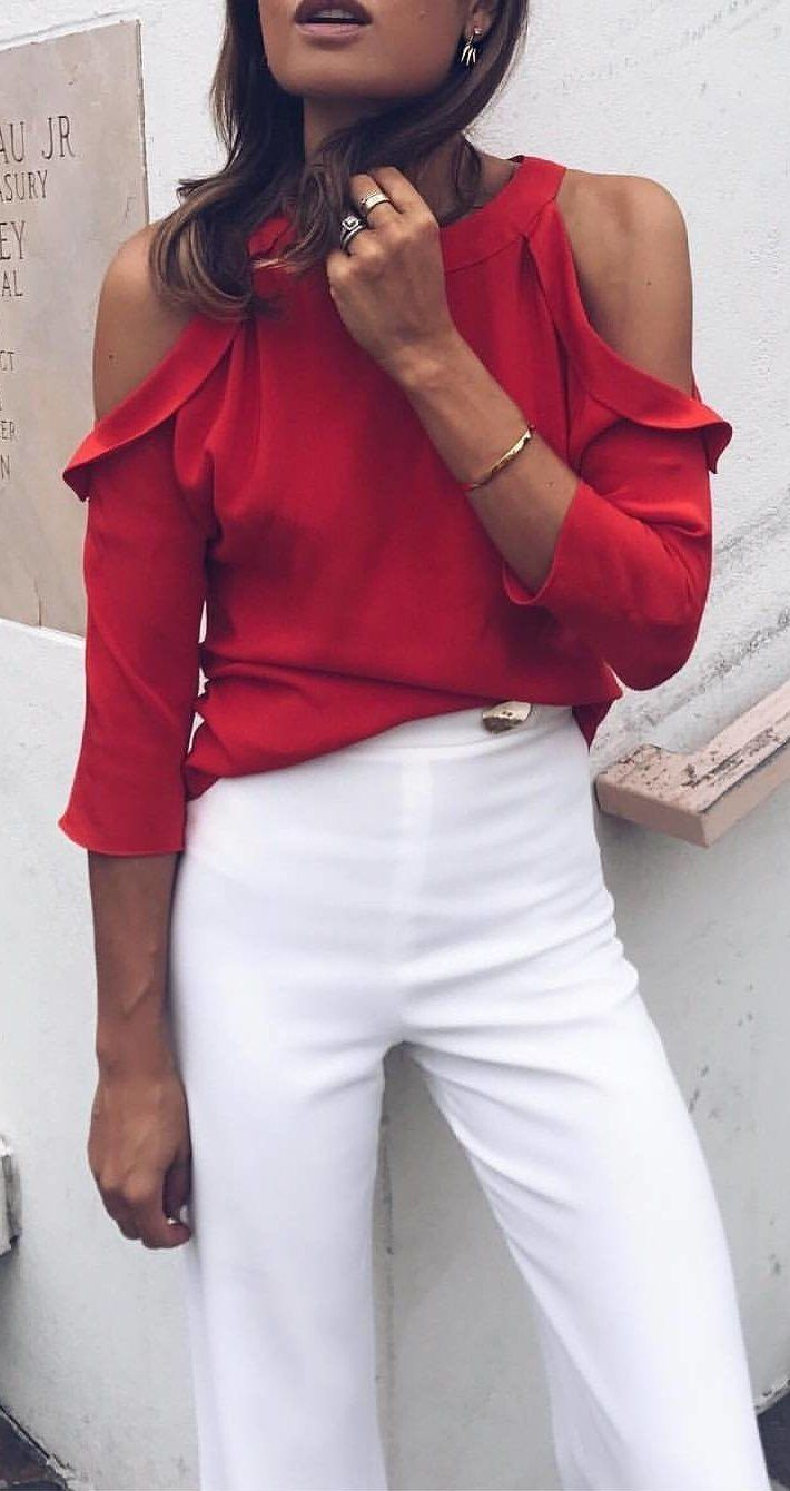 #fall #outfits Red Cold Shoulder Blouse + White Pumps