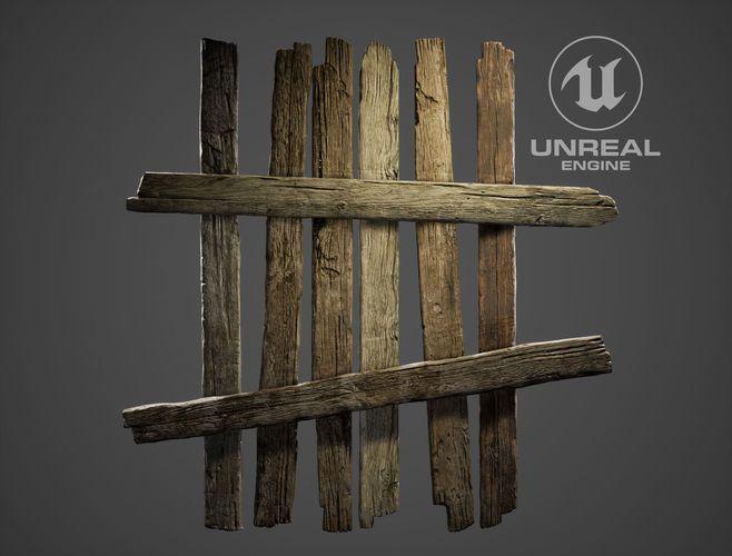 fence wood planks 3d model low-poly obj fbx mtl 2