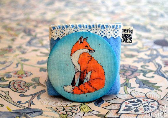 Red Fox Fabric Pocket Mirror