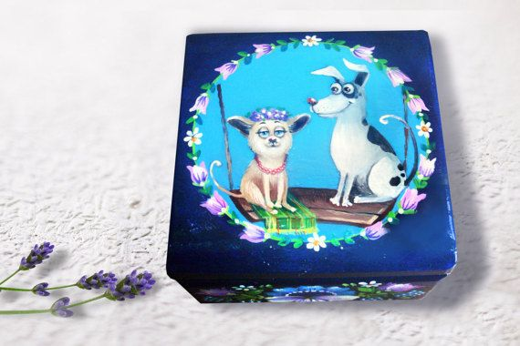 Handpainted Wooden box girls jewelry box wooden by folkgifts