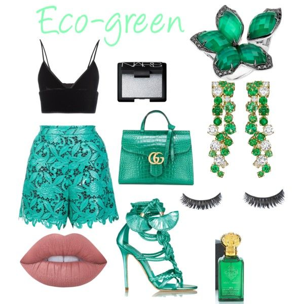 Eco-green Look by rea-godo on Polyvore featuring polyvore, fashion, style, T By Alexander Wang, MSGM, Brian Atwood, Gucci, Stephen Webster, Lime Crime and NARS Cosmetics