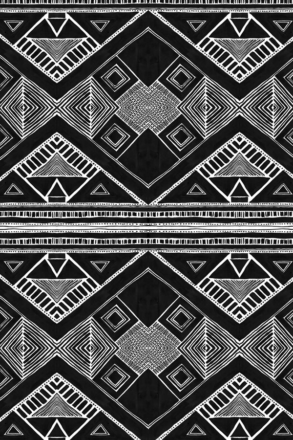 Black And White Tribal Pattern By Marieyates Hand Drawn Geometric Patterns Bold Mudcloth On Fabric Wallpaper Gift Wrap