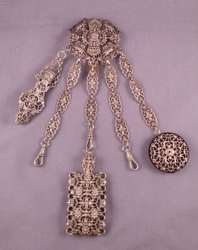SUPERB FRENCH FILIGREE CHATELAINE WITH TOOLS PINCUSHION SCENT BOTTLE AIDE MEMOIR | eBay
