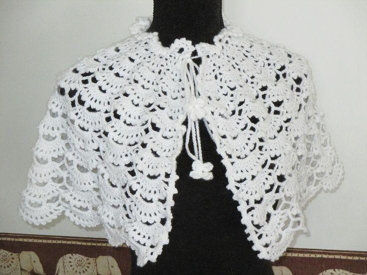 cape de mariage en tricot | Cape baptême communion mariage fait-main vente tricot laine fine ...