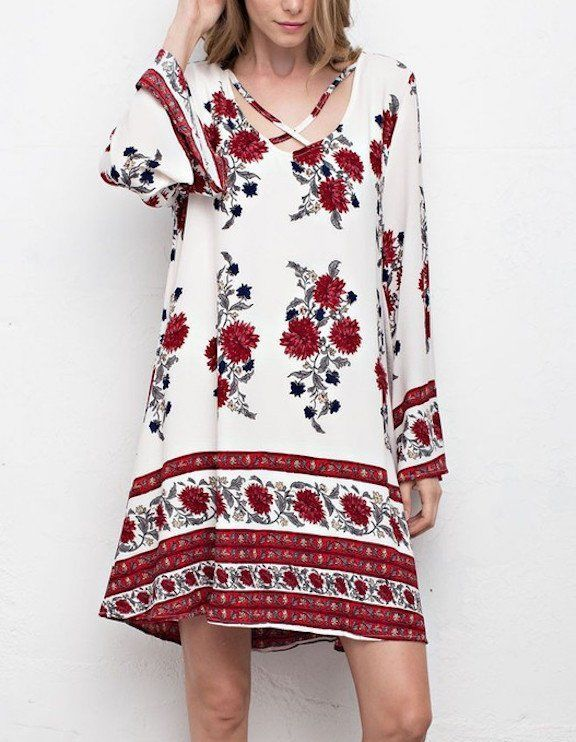 SOUTHERN GIRL FASHION $58 Floral Printed Dress Bohemian Bell Sleeve Swingy Mini  | eBay