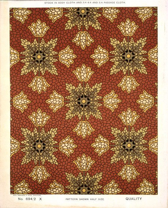 George Harrison & Co (Bradford) :Floorcloth [Victorian formal mosaic floral pattern]. Stock in body cloth and 3/4 4/4 and 5/4 passage cloth. No 694/2 X. Pattern shown half size. [1880s?]